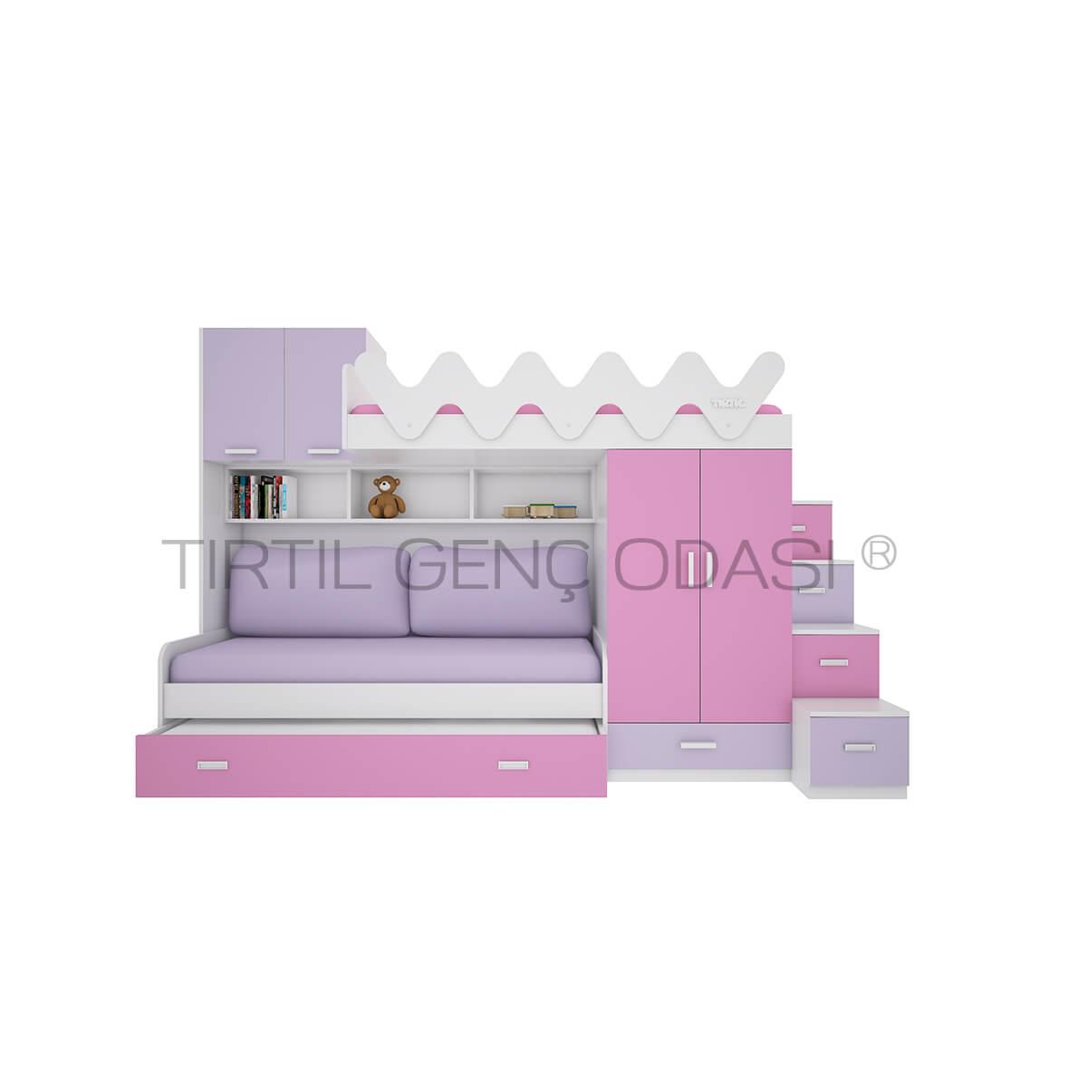 Tırtıl Mobilya Üç Yataklı Dolaplı Ranza Modelleri Fiyatları