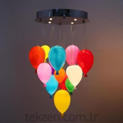 Tekzen Renkli Balon Avize
