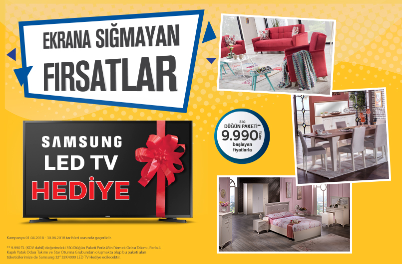 İstikbal Mobilya Televizyon Hediyeli Düğün Paketi